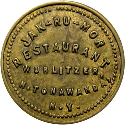 Jak-Ru-Mor Restaurant, Wurlitzer, token (c1950).jpg