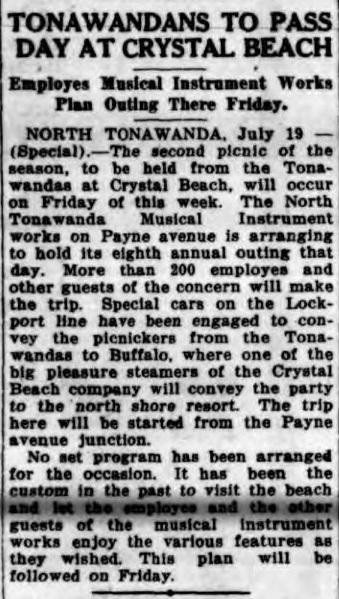 Tonawandans to Pass Day at Crystal Beach, article (Buffalo News, 1916-07-19).jpg