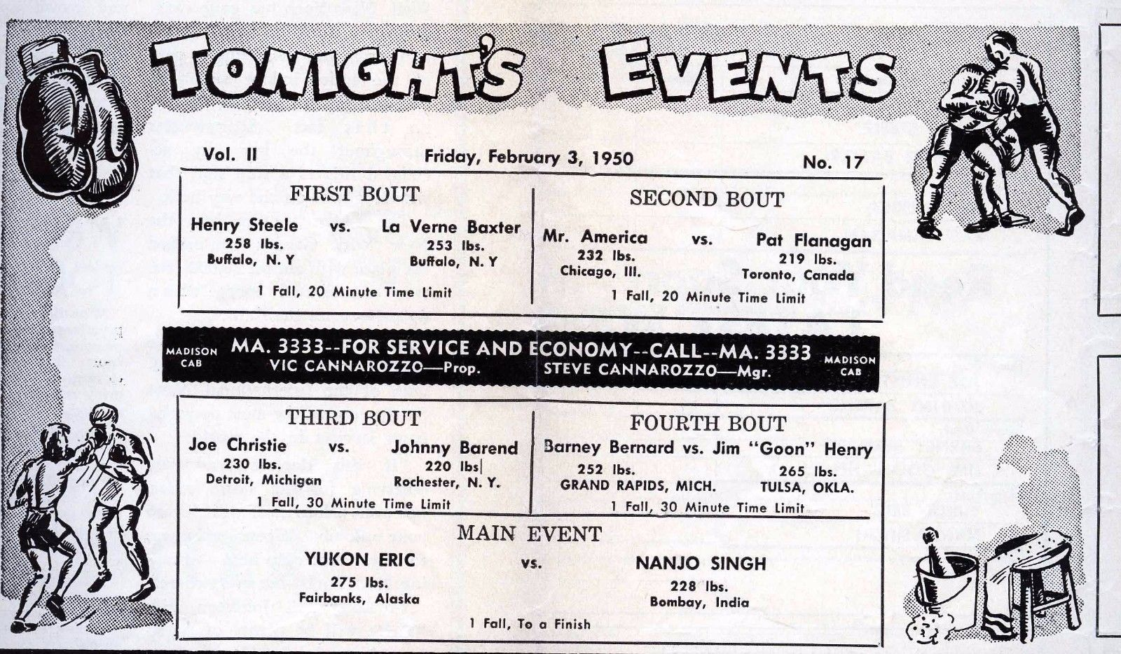 Four Corner Wrestling Club, program, reverse (1950-02-03).jpg