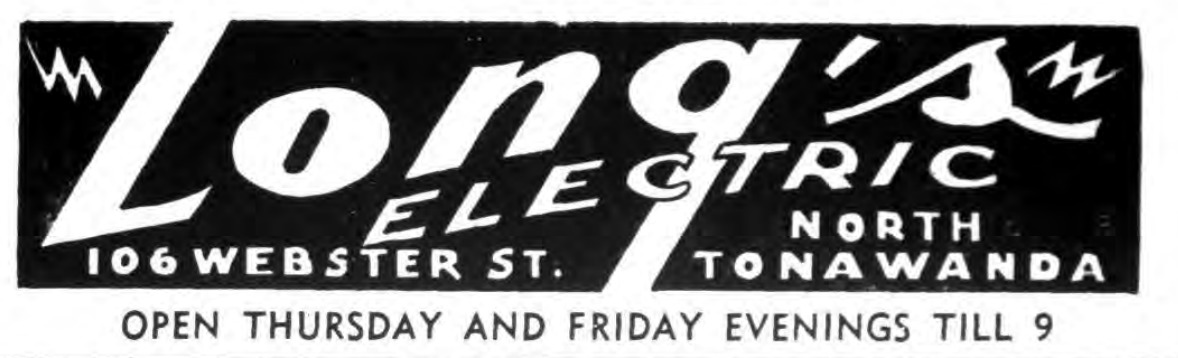 Longs Electric, 106 Webster, ad, logotype (Tonawanda News, 1950).png