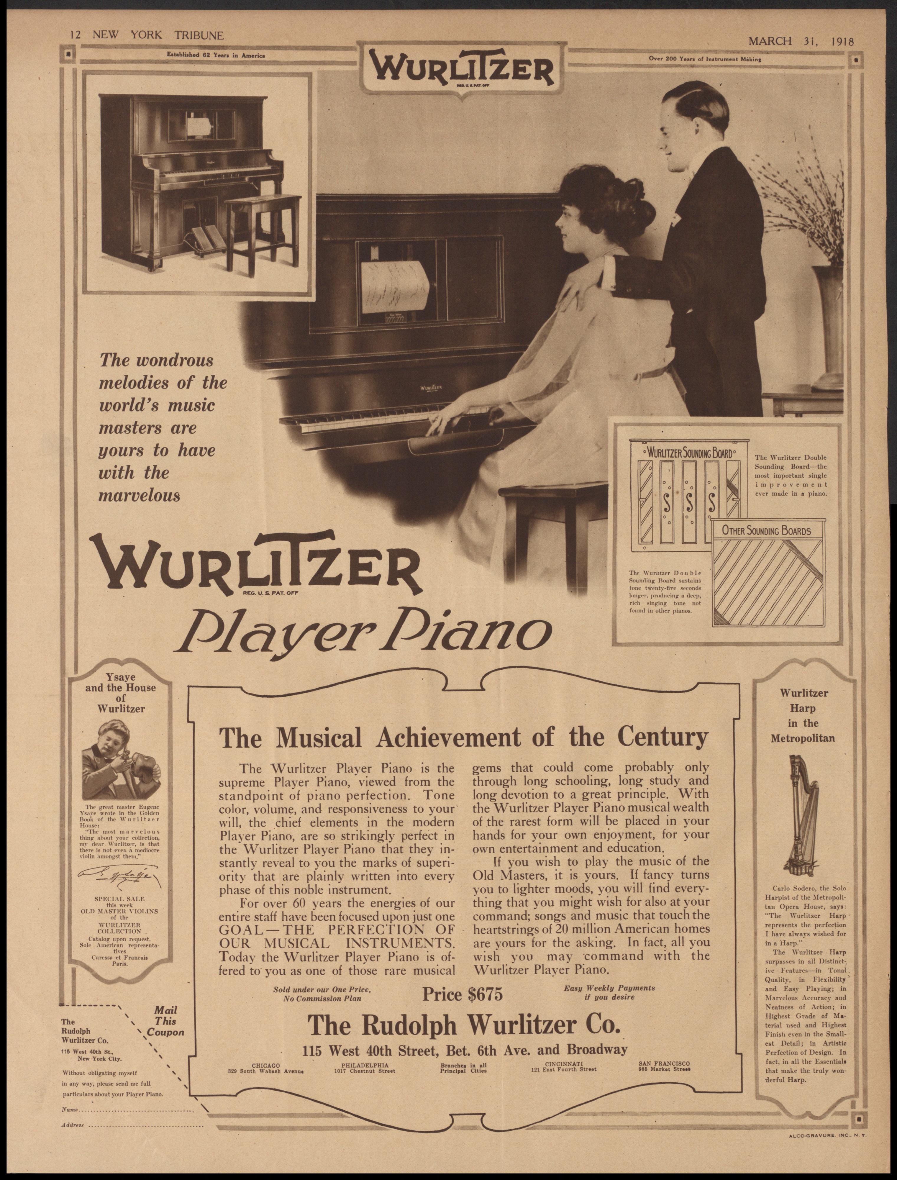 Wurlitzer Player Piano, hi-res ad (New York Tribune, 1918-03-31.jpg