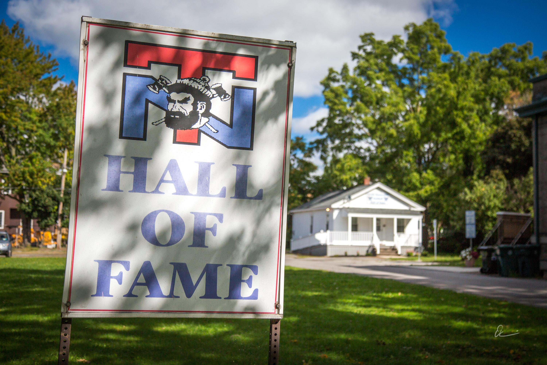 North Tonawanda Football Hall of Fame, sign and building, photo (2017).jpg