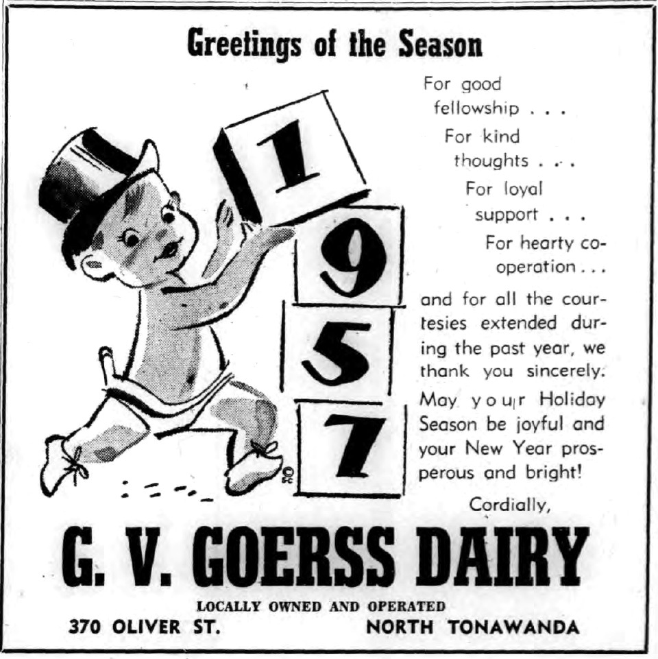 Goerss Dairy, ad (Tonawanda Evening News, 1956-12-31).jpg
