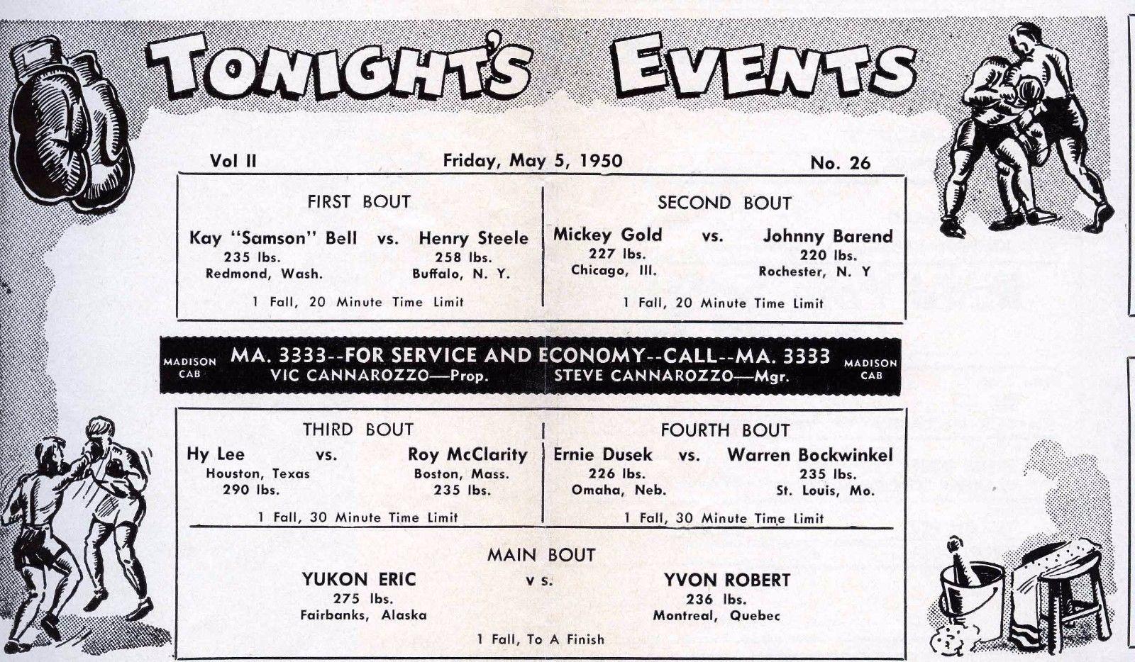 Four Corner Wrestling Club, program, reverse (1950-05-05).jpg