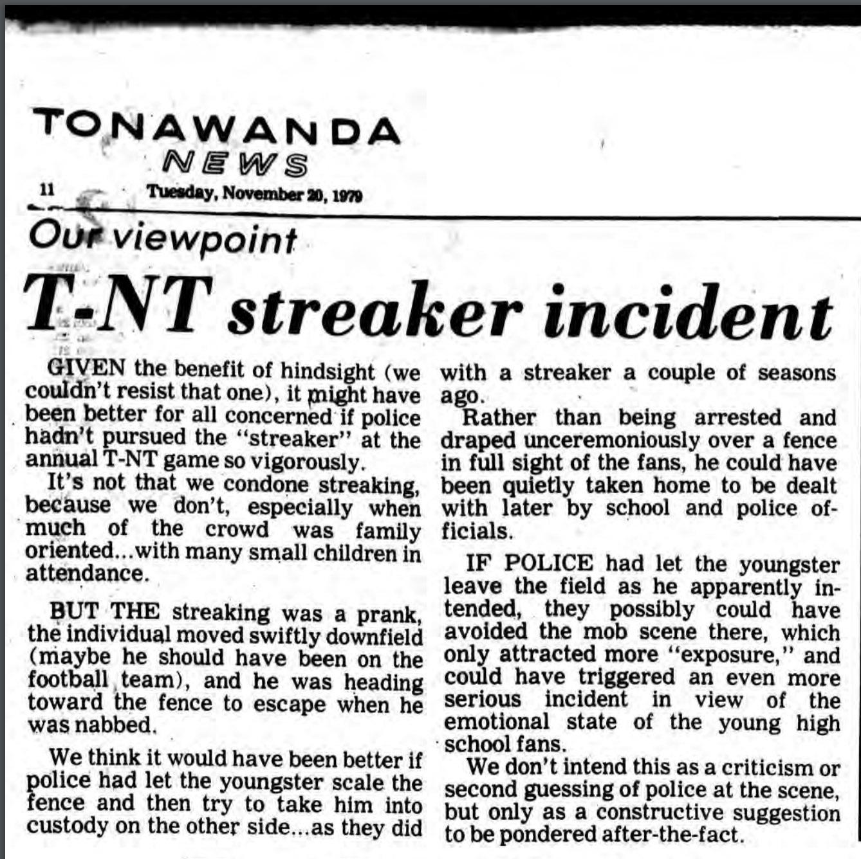 Our viewpoint, T-NT streaker incident, opinion piece (Tonawanda News, 1979-11-20).jpg