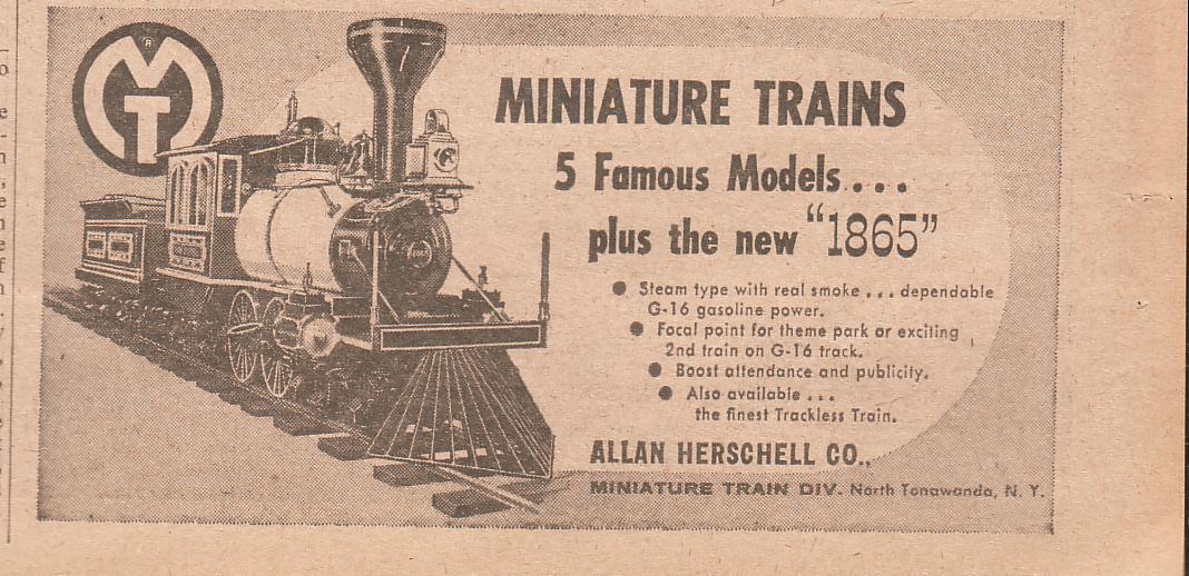 Allan Herschell miniature train, ad (1960).jpg