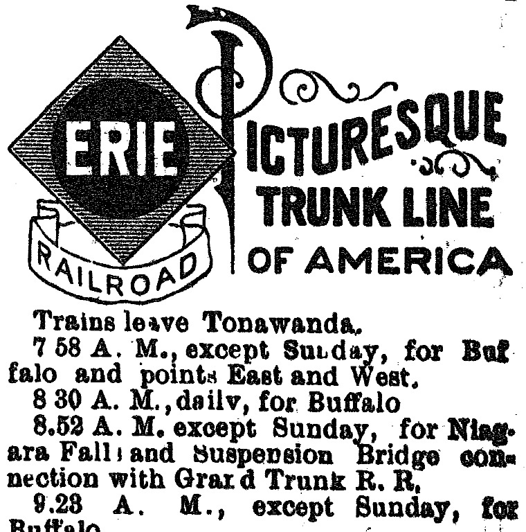 Erie Railroad logo, ad (Tonawanda News, 1896-05).jpg