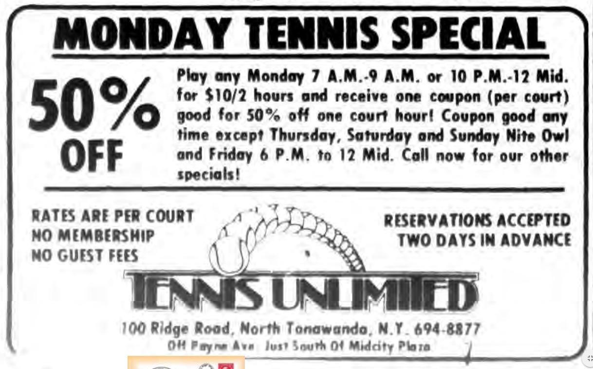 TENNIS UNLIMITED, ad, logotype (Tonanwanda News, 1980-04-04).png
