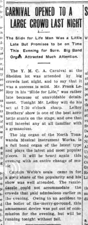 YMCA Carnival Opened to a Large Crowd Last Night, article (1908-06-12).jpg