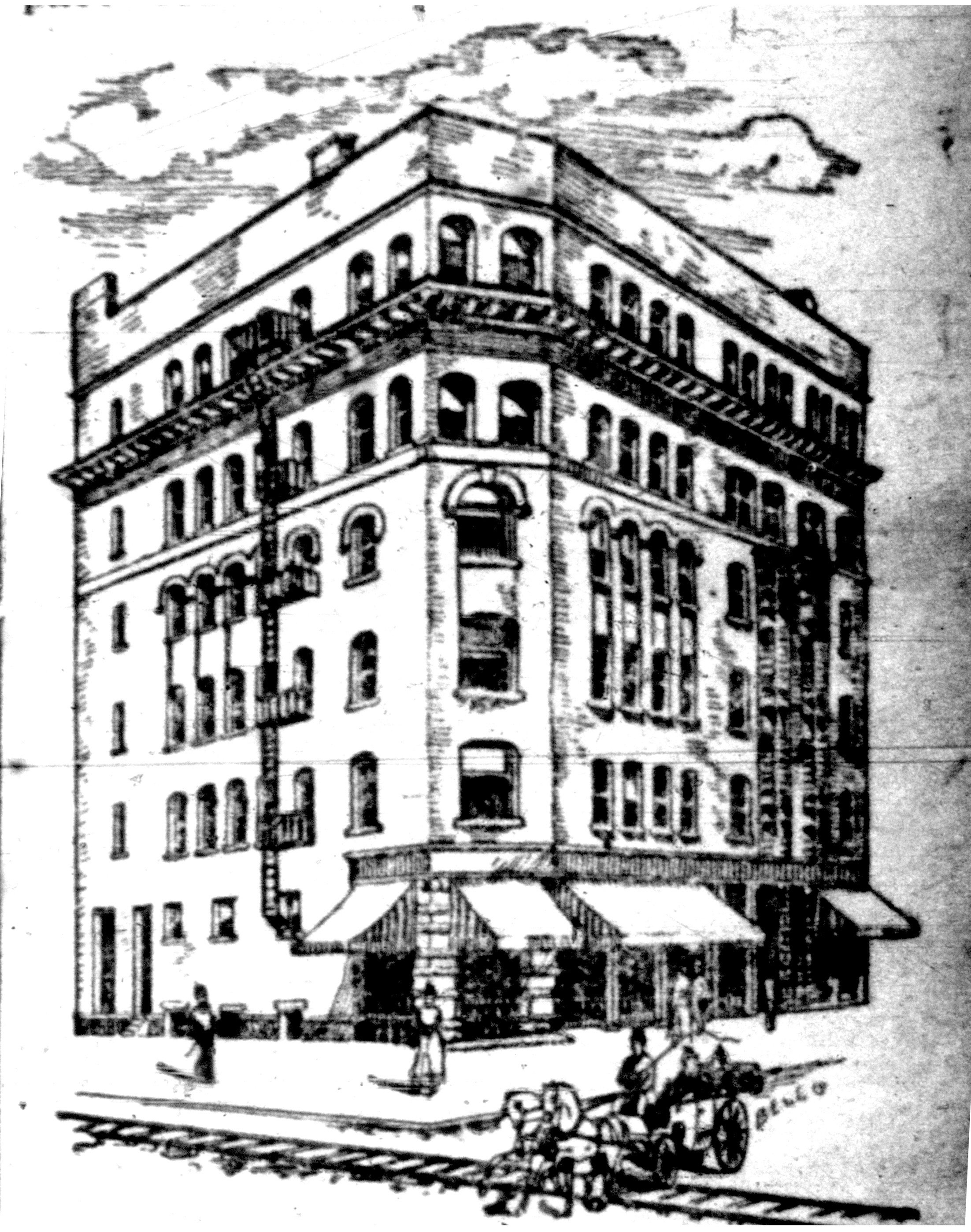 Smith Building, northeast corner of Webster and Tremont, illustration (1893-08-05 Tonawanda News).jpg