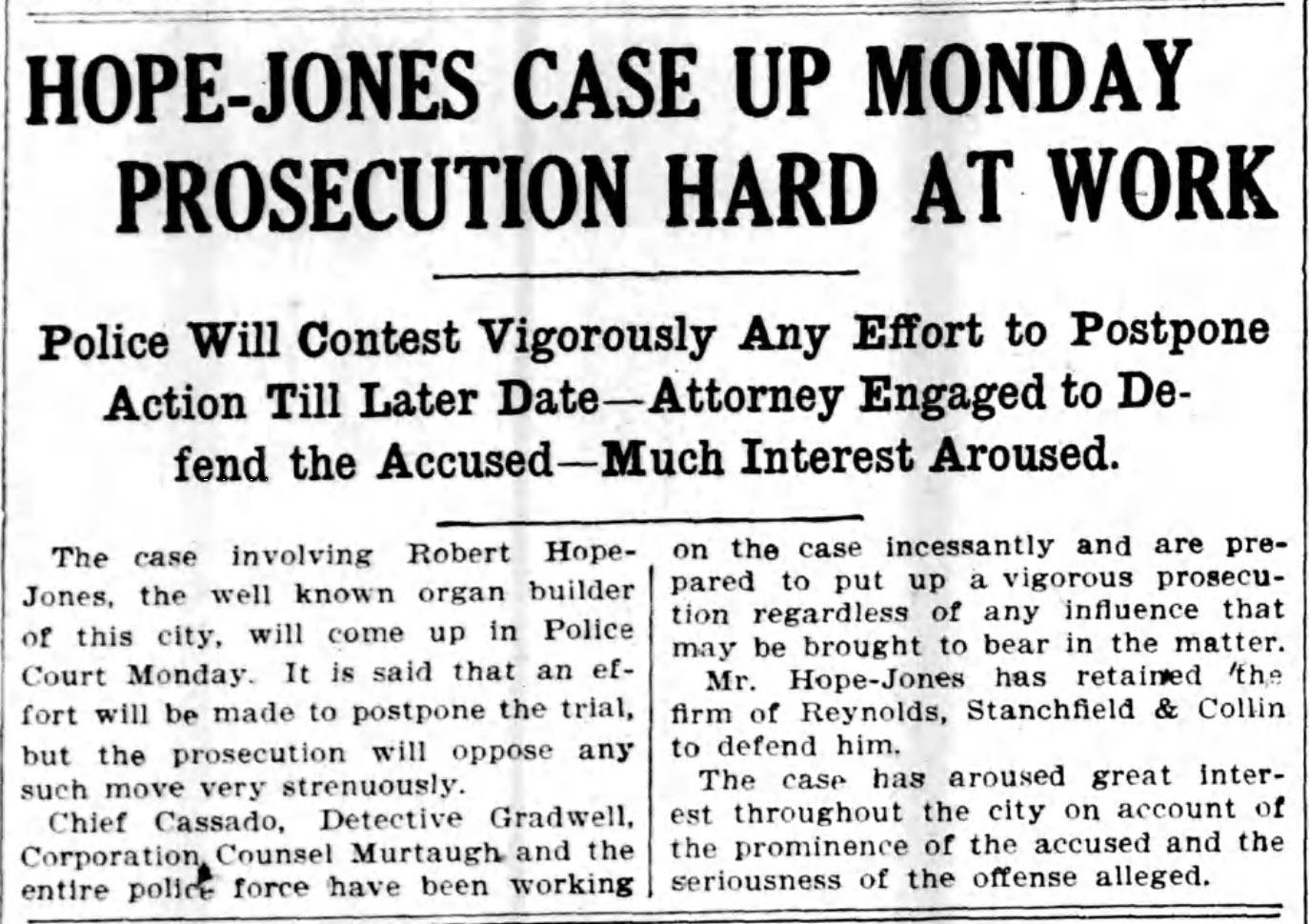 Hope-Jones case up Monday, prosecution hard at work, article (Elmira Star-Gazette, 1908-05-09).jpg