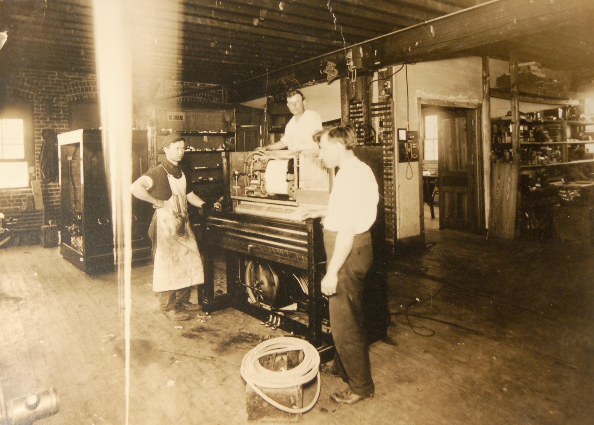 Frank Morganti inside North Tonawanda Musical Instrument Works (DH c1910).jpg