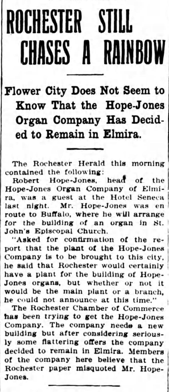 Rochester still chases a rainbow, article (Elmira Star-Gazette, 1909-03-10).jpg
