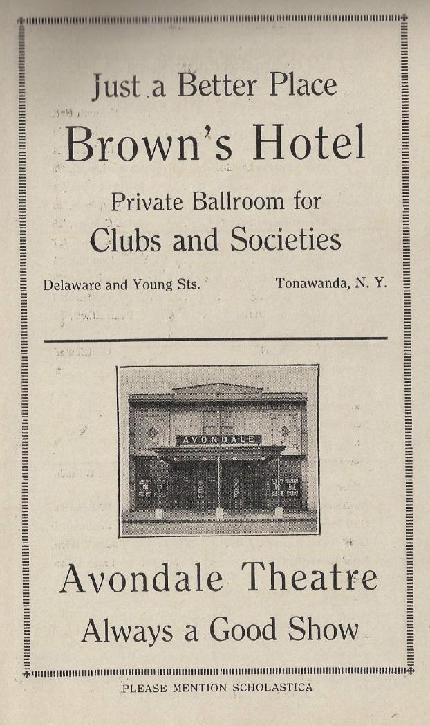 Brown's Hotel Ad, Avondale Theatre photo, Tonawanda Scholastica (1924).jpg