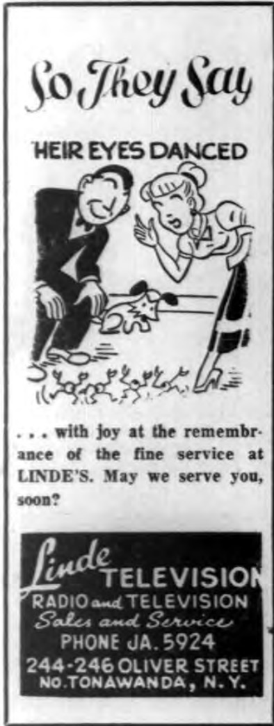 Their Eyes Danced, Linde TV ad and logotype (Tonawanda News, 1955-03-23).png