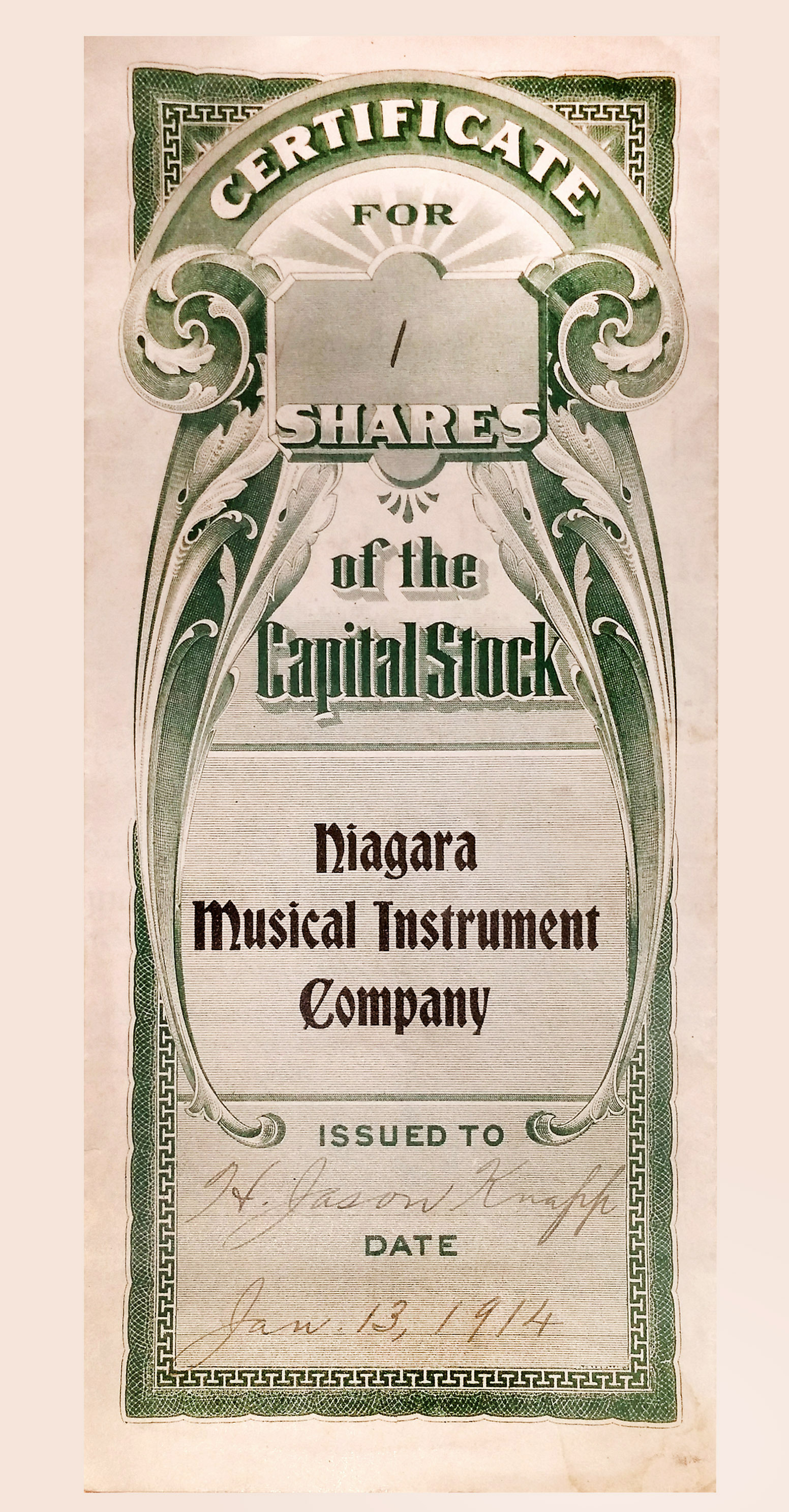 Niagara Musical instrument Works, stock certificate (1914-01-13).jpg