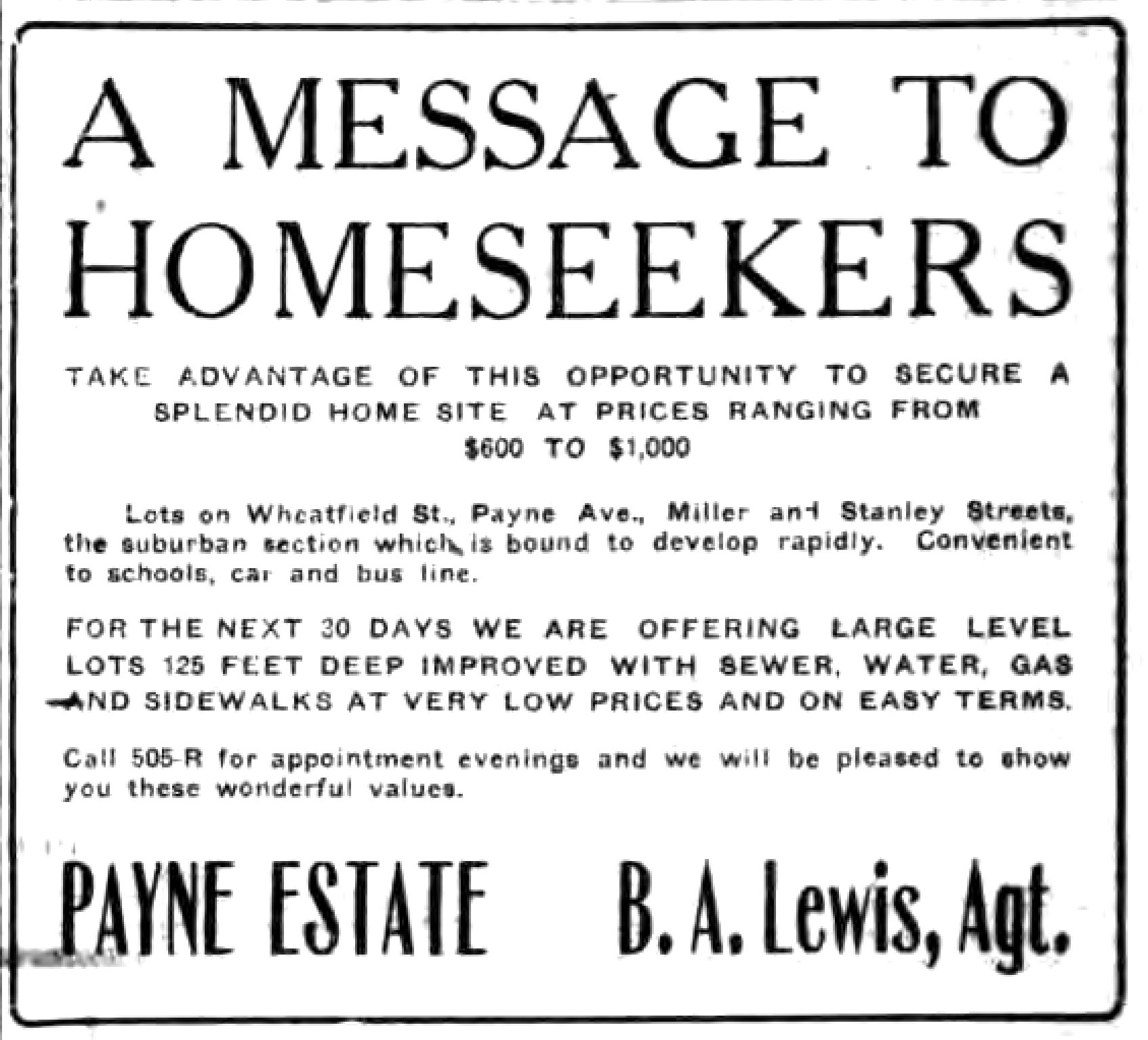 A message to homeseekers, lots on Wheatfield, Payne, Miller, Stanley, ad(Tonawanda News, 1922-10-05).jpg
