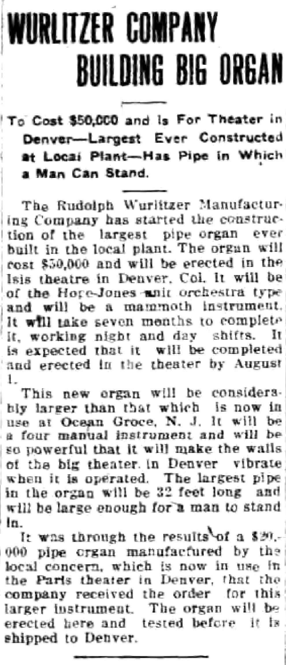 Wurlitzer Company Building Big Organ, article (Tonawanda News, 1915-04-08).jpg
