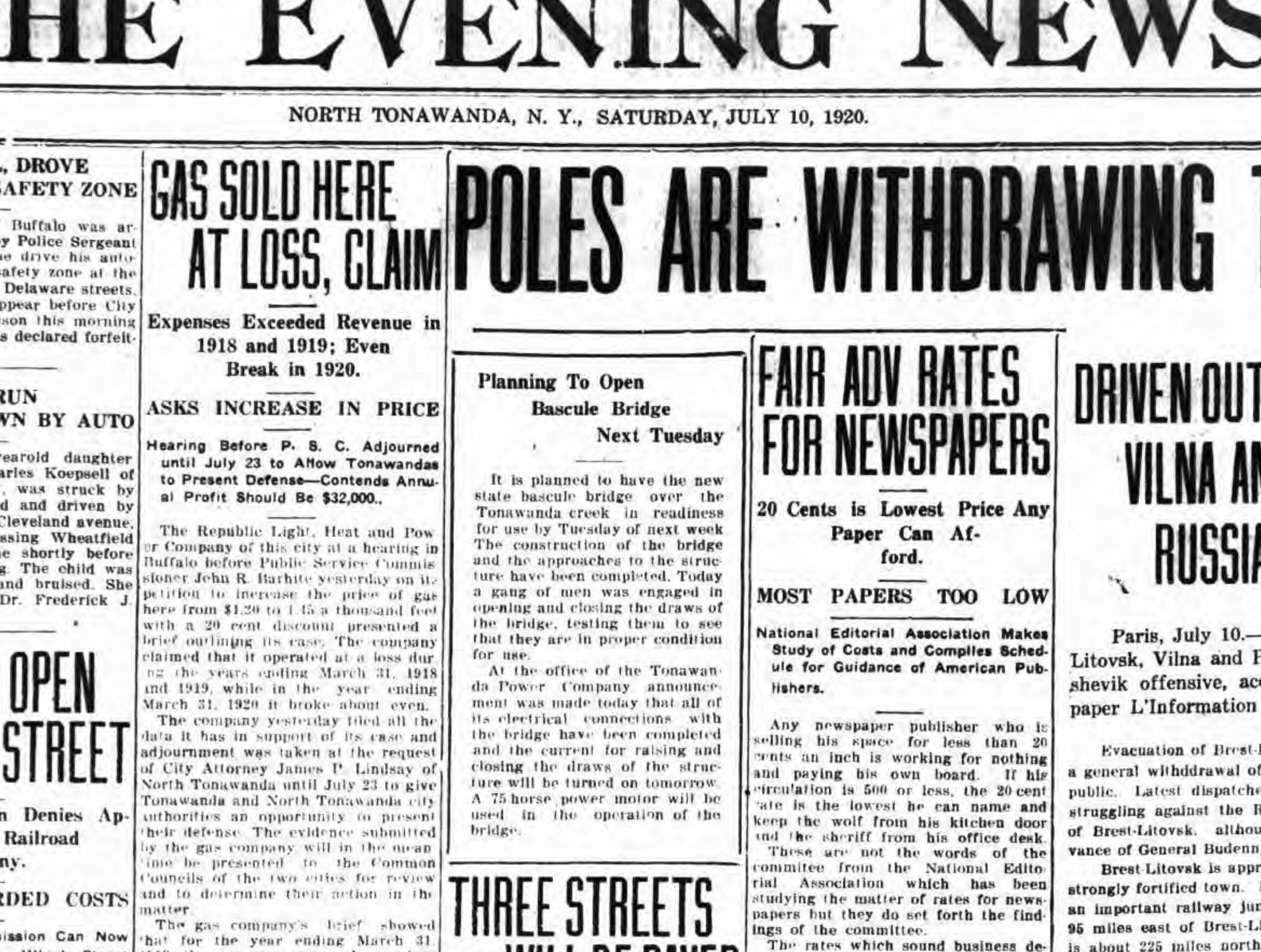 Planning to open bascule bridge next Tuesday, article (Tonawanda News, 1920-07-10).jpg