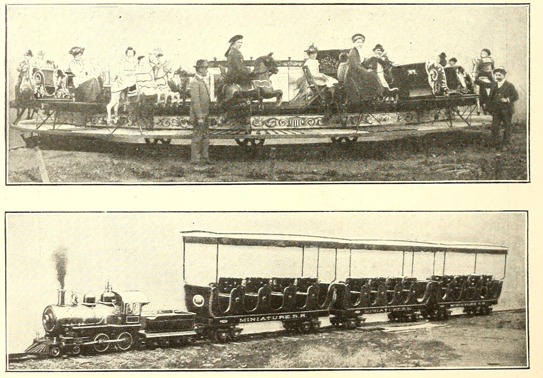 Armitage-Herschell Riding Gallery and Miniature Train, photo ad (Street Railway Journal, 1902 PD).png