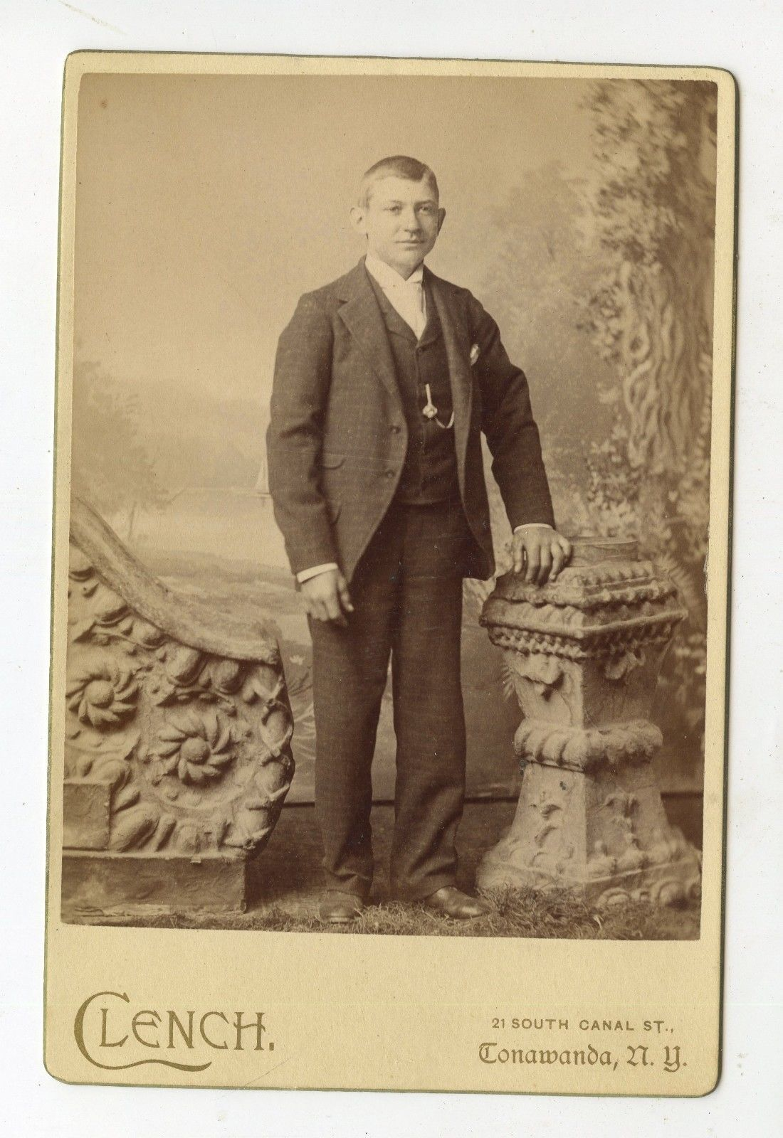 Portrait of a young man, R. J. Clench, 21 South Canal Street, cabinet card photo (c1880).jpg