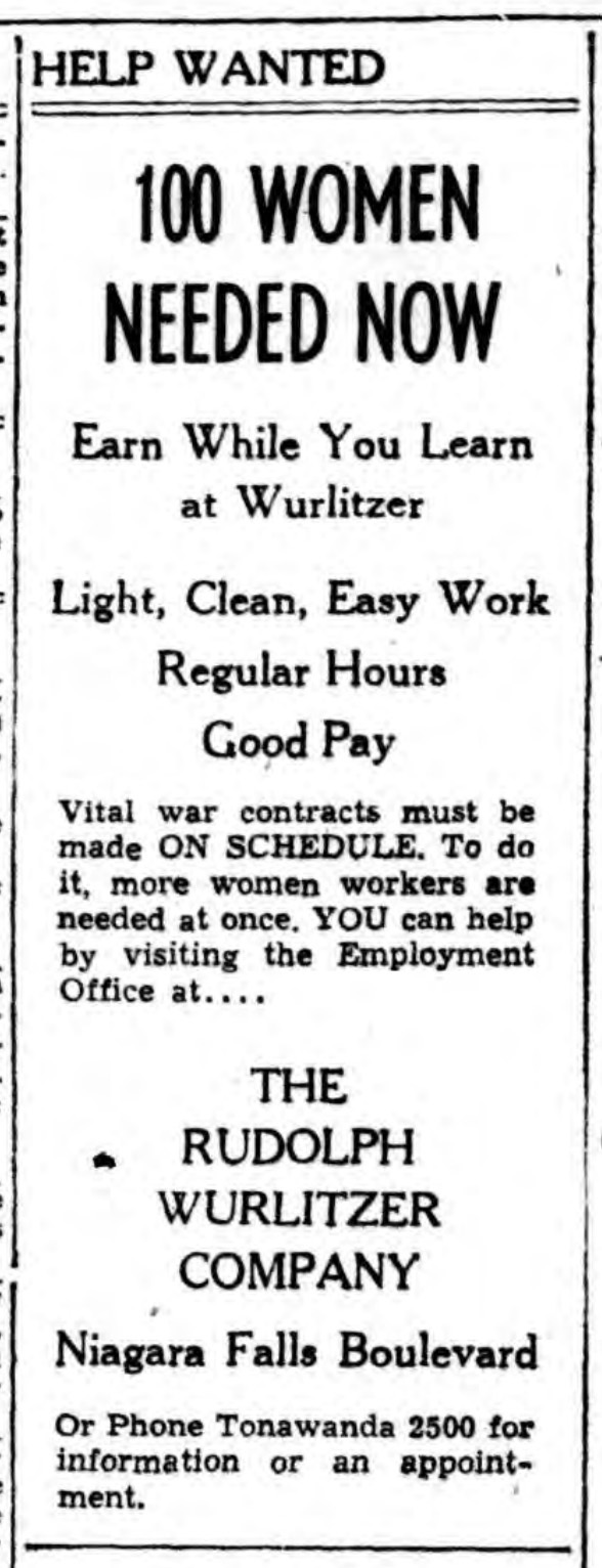 100 women needed now, ad (Rudolph Wurlitzer Co., 1945-02-22).jpg