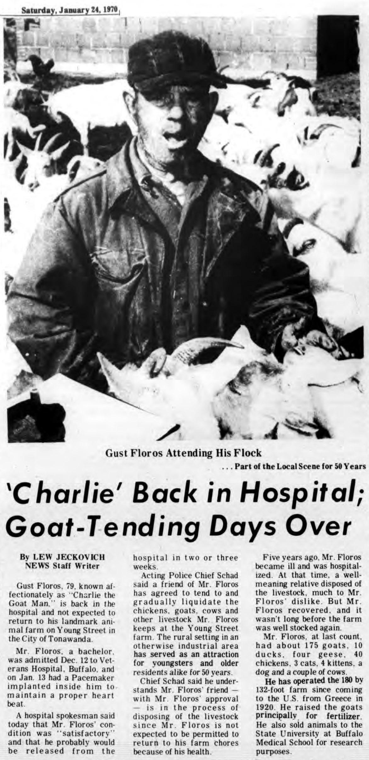 Charlie Back in Hospital, Goat-Tending Days Over, article (Tonawanda News, 1970-01-24).jpg