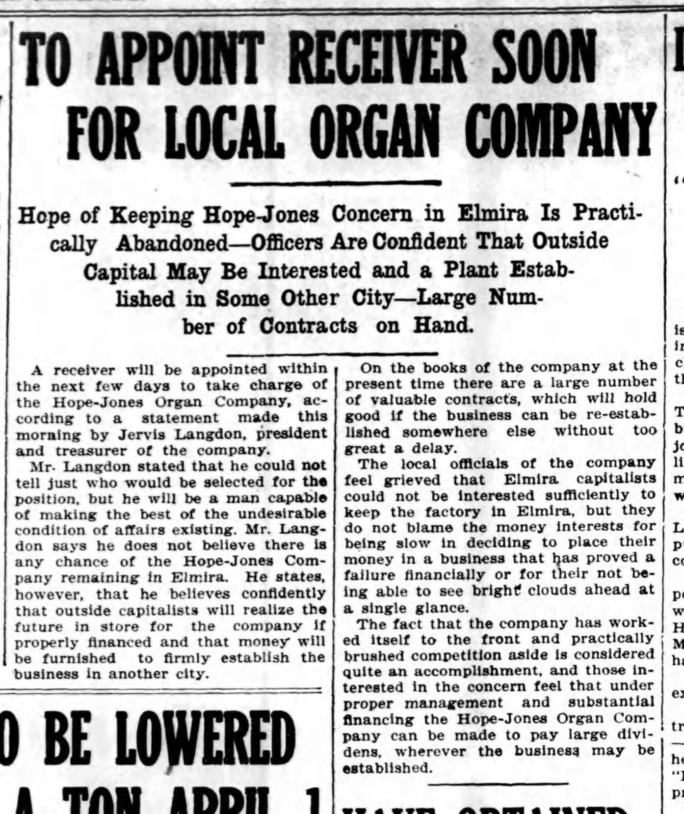 To appoint receiver soon for local organ company, article (Elmira Star-Gazette, 1910-03-30).jpg