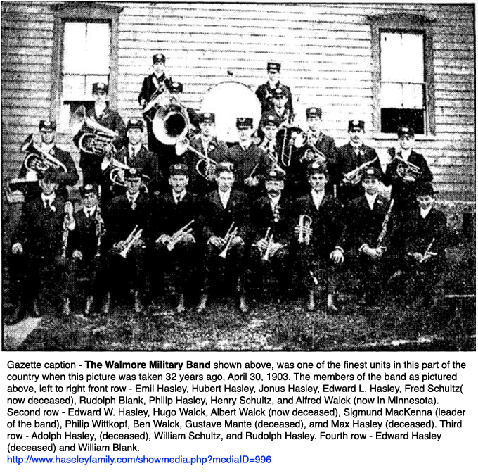 Walmore Military Band, Fred and William Schultz, photo (Niagara Gazette, 1903-04-30).jpg