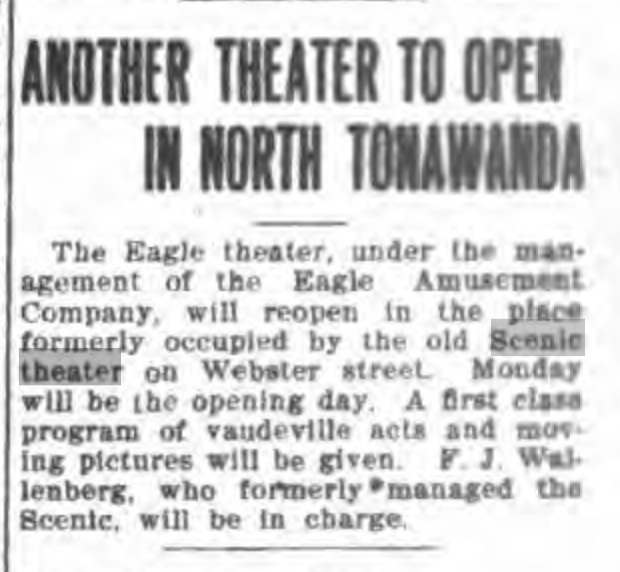 Eagle Theater to reopen in place of Scenic, Wallenberg, article (Tonawanda News, 1910-08-06).jpg