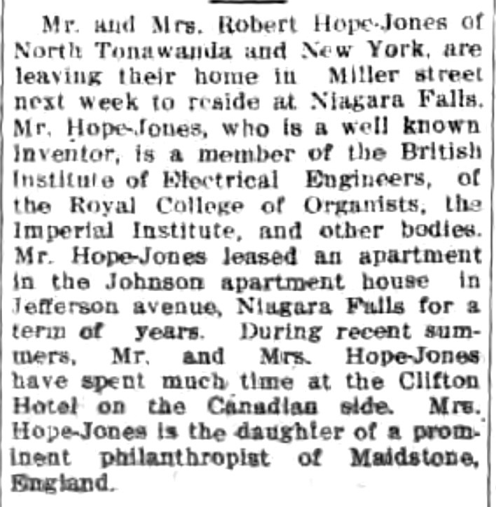 Hope-Jones leaving Miller Street home for Niagara Falls, notice (Tonawanda News, c1916 633).jpg