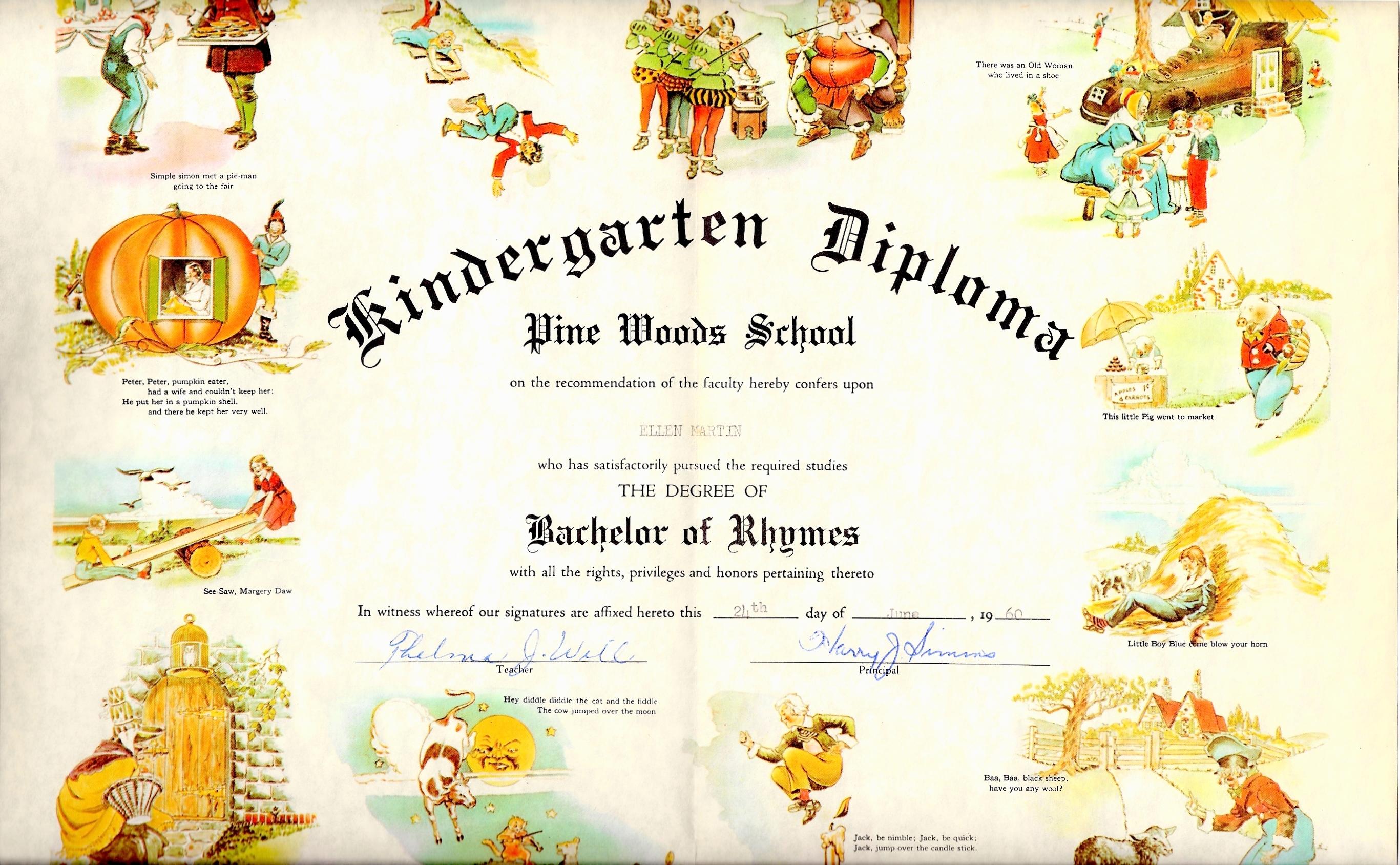 Ellen Martin, Pine Woods School, Kindergarten Diploma (1959-1960).jpg