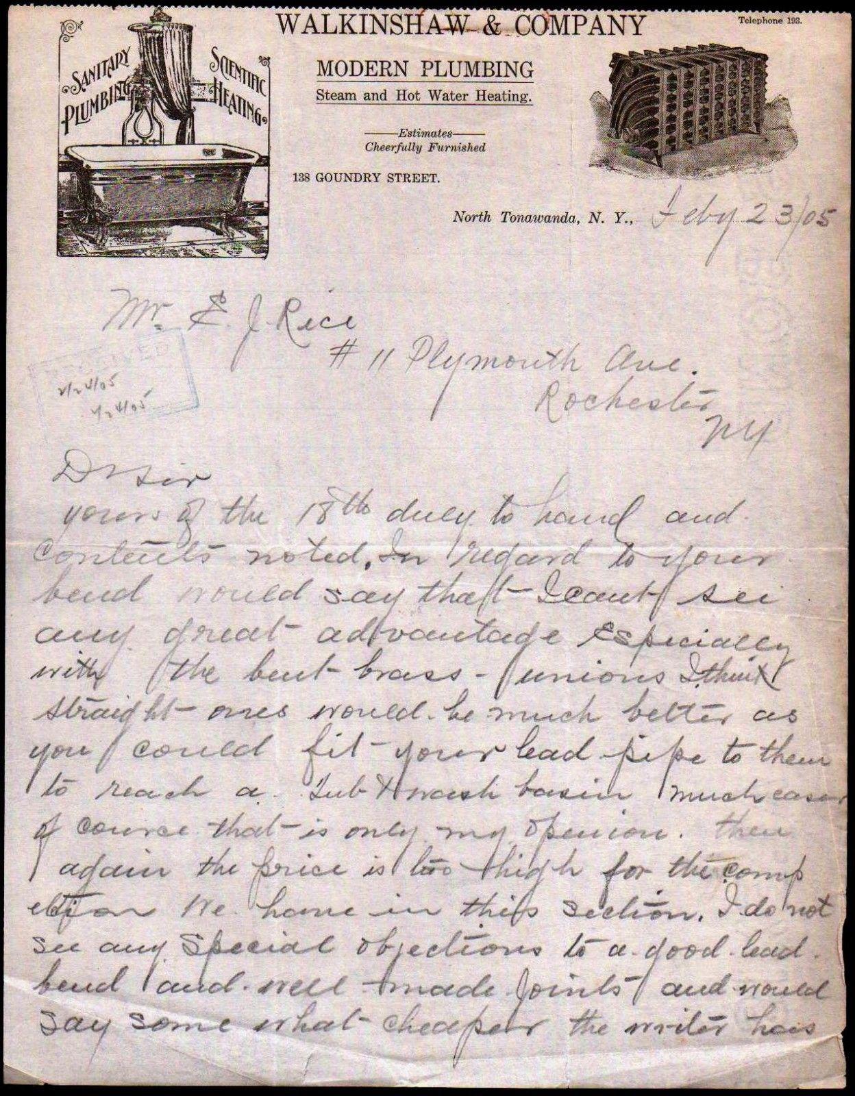 Walkinshaw and Co Modern Plumbing, 138 Goundry, North Tonawanda, illustrated letterhead (1905-02-23).jpg
