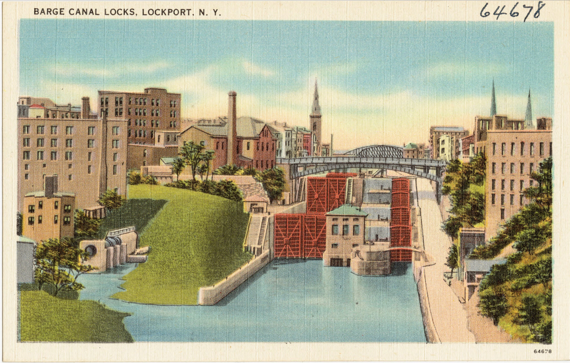 Barge Canal Locks, Lockport NY, illustrated postcard.jpg