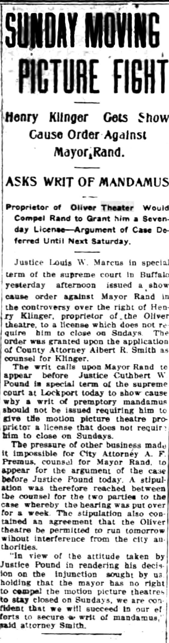 Sunday moving picture fight, article (Tonawanda News, 1915-06-05).jpg