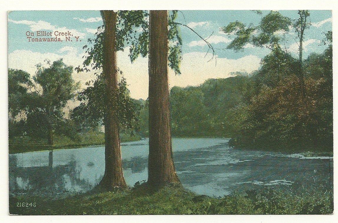 On Elliot (sic) Creek, Tonawanda NY, illustrated postcard.jpg