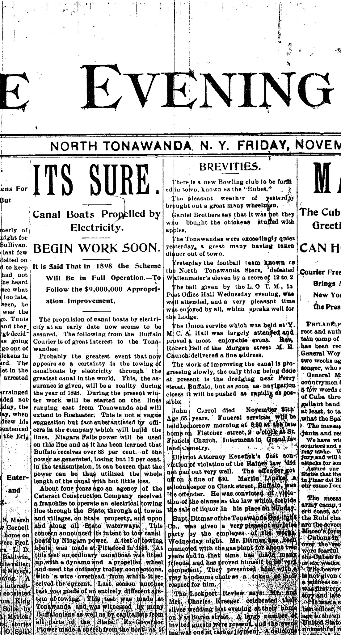 Canal Boats to Be Propelled by Electricity, article (Tonawanda News, 1896-11-27).jpg