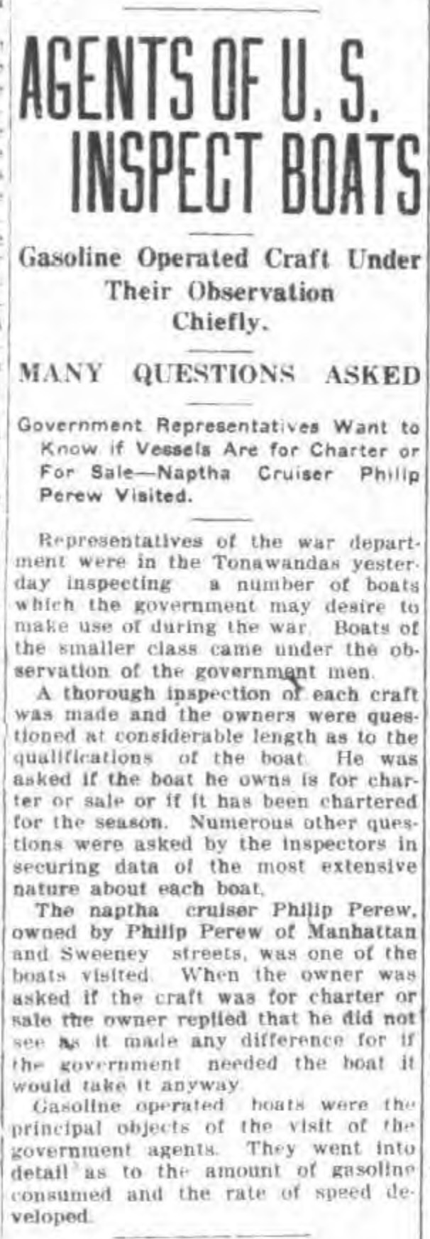 Agents of US inspect boats, surly Perew questioned, article (Tonawanda News, 1918-03-20).jpg