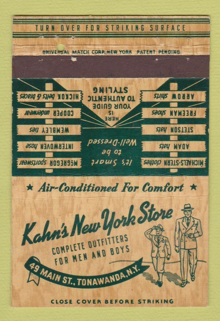 Kahns New York Store, 49 Main, Tonawanda, logotype matchbook (c1955).jpg