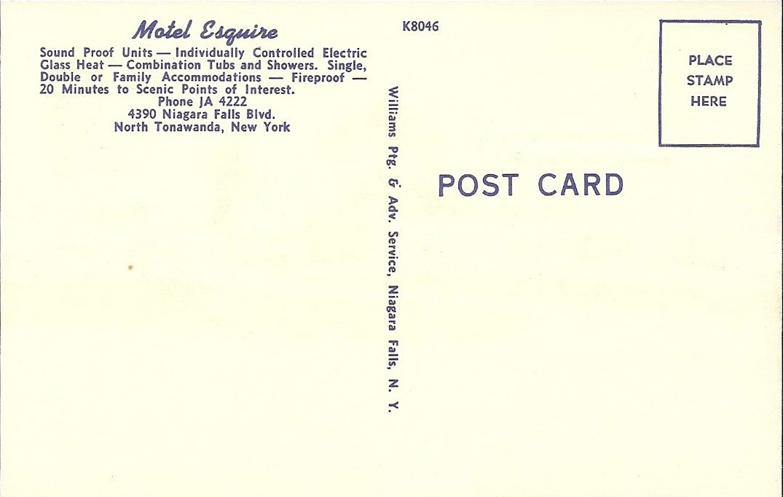 Motel Esquire, 4390 Niagara Falls Blvd, postcard back (c1950).jpg