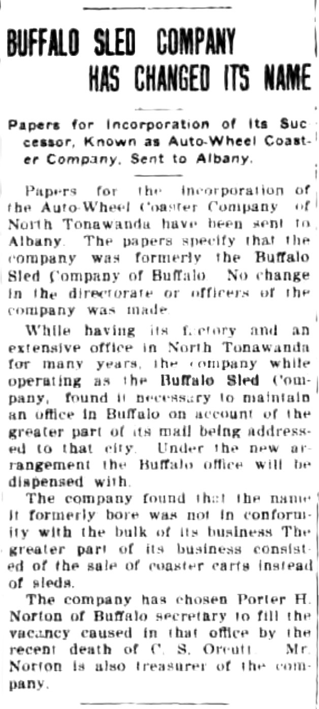 Buffalo Sled Company has changed its name, article (Tonwanda News, 1920-07-03).jpg