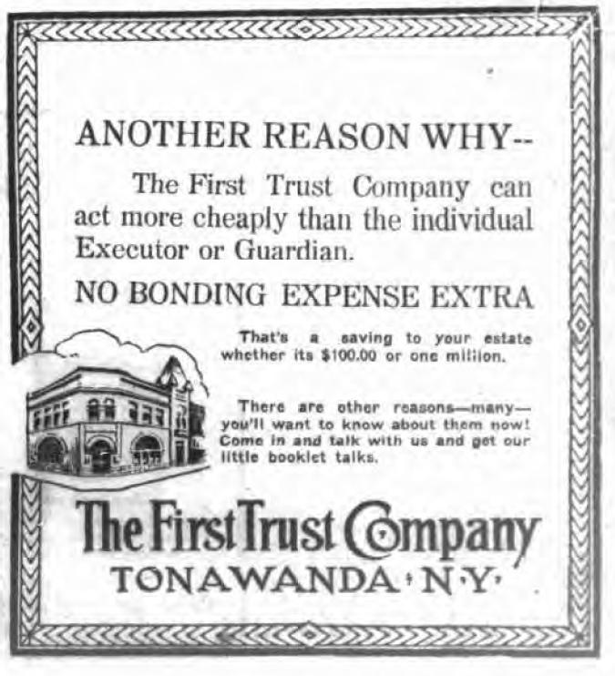 First Trust Company, advertisement (Tonawanda News, 1917-04-02).jpg
