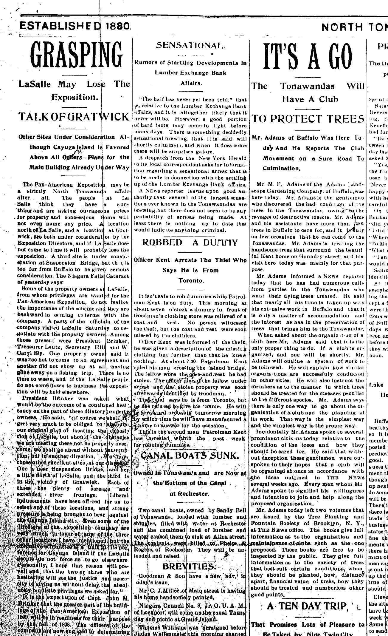 Grasping, Gratwick possible Pan-Am site, article (Tonawanda News, 1897).jpg