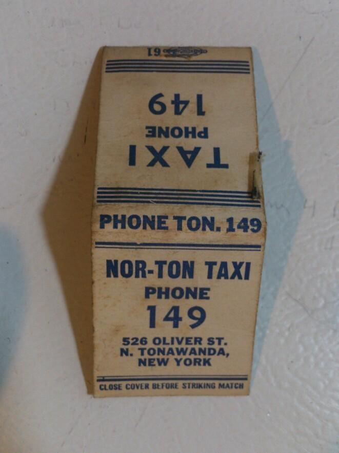 Nor-Ton Taxi, 526 Oliver, matchbook (c1940).jpg