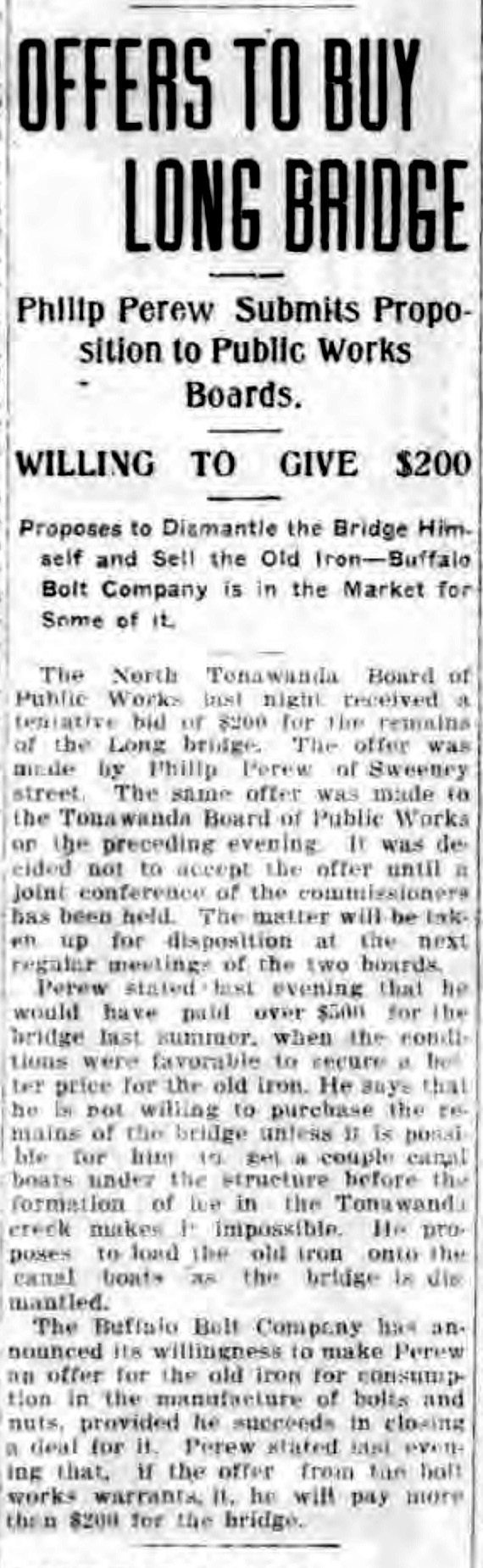 Offers to buy Long Bridge, article (Tonawanda News, 1916-11-15).jpg