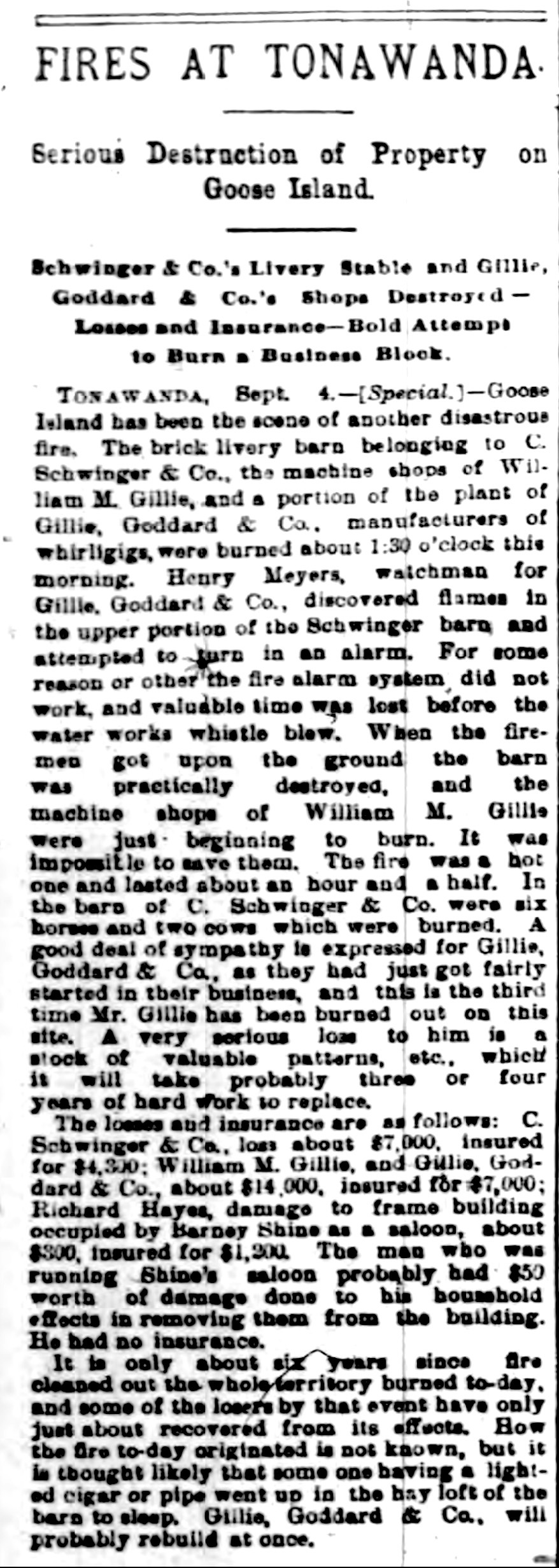 Fires at Tonawanda, Gillie, Goodard, Schwinger destroyed, article (Buffalo Courier, 1892-09-05).jpg