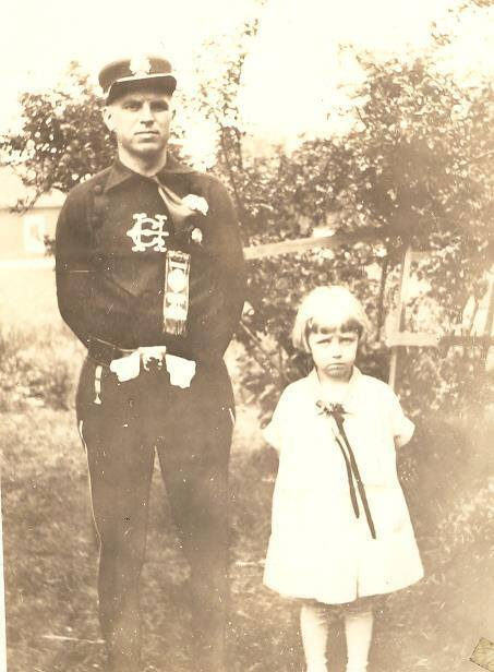 Columbia Hook and Ladder, fireman and little girl, photo (Kathleen Dahl Ricch, c1925).jpg