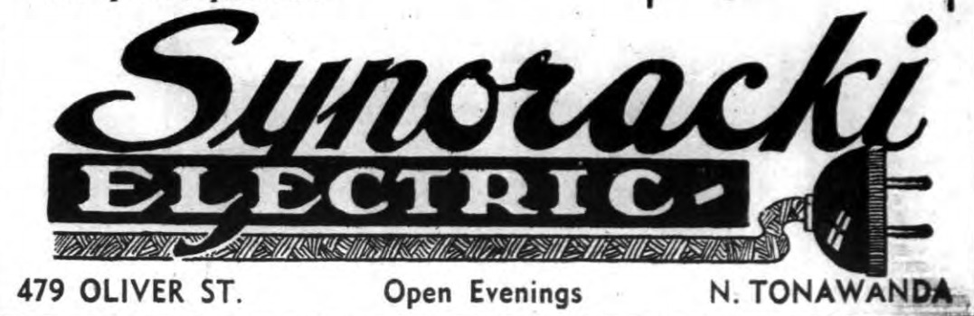 Synoracki Electric, 479 Oliver, ad logotype (Tonawanda News, 1950).png