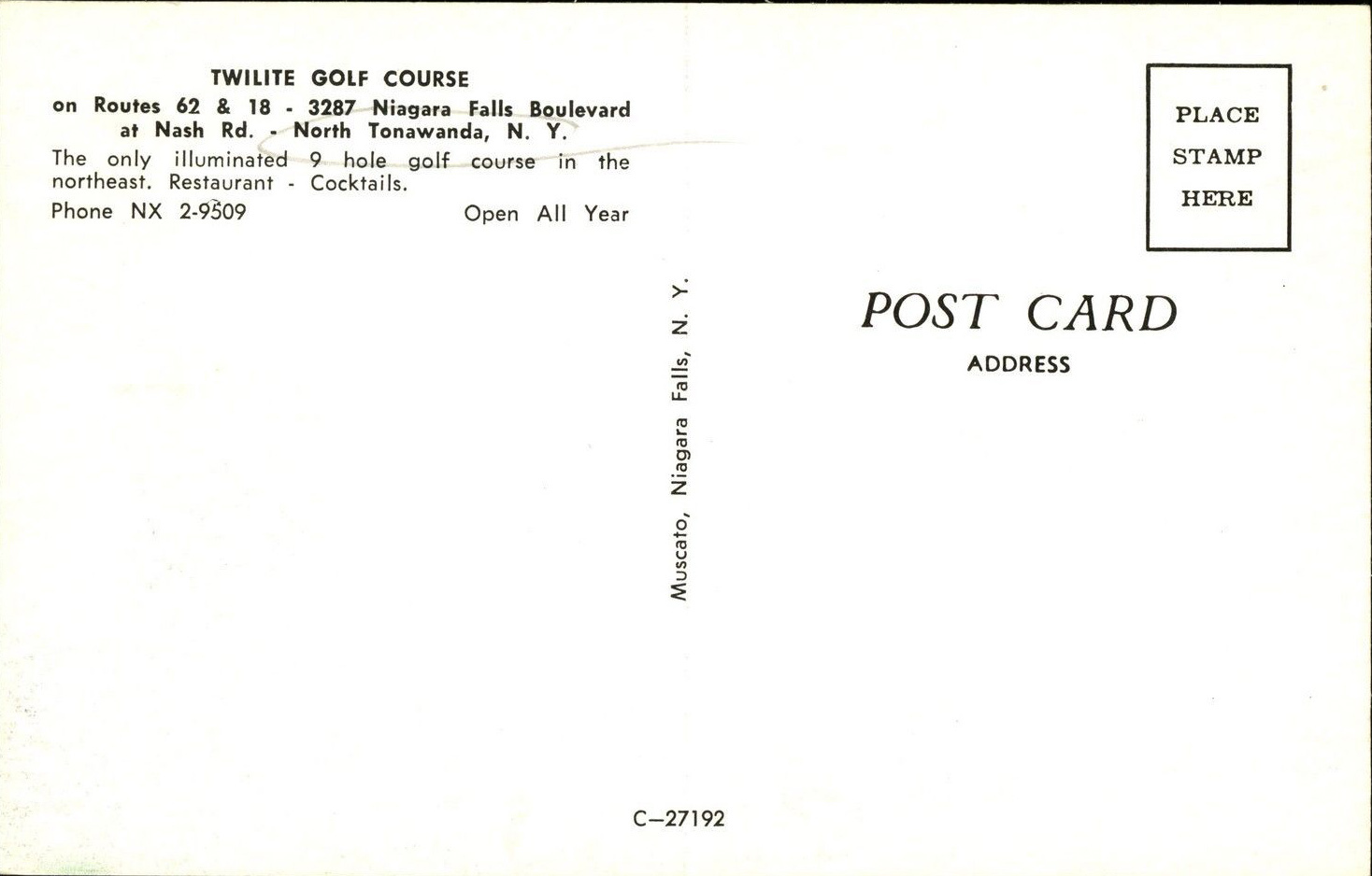Twilite Golf Course, 3287 Niag Falls Blvd, postcard reverse (c1960).jpg