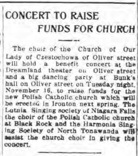 Concert to raise funds for church, Dreamland, article (Tonawanda News, 1915-10-26).jpg